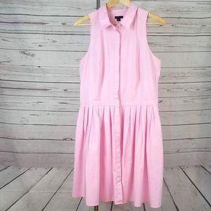 Ann Taylor pink sleeveless button shirt dress